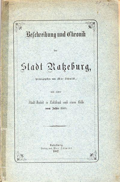 Max Schmidt - »Beschreibung und Chronik der Stadt Ratzeburg
