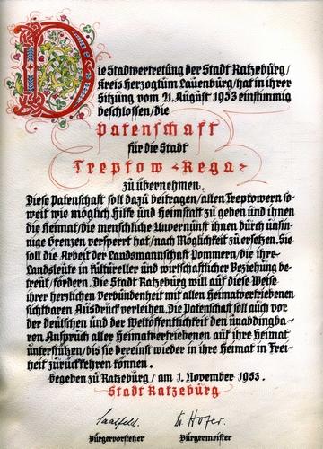 Vor 60 Jahren: Die Ratzeburger Patenschaft für die Stadt Treptow an der Rega