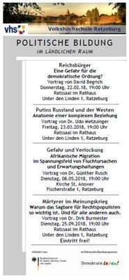 Angebote zur politischen Bildung der Ratzeburger Volkshochschule
