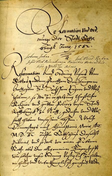 Polizeiordnung der Stadt Ratzeburg von 1582